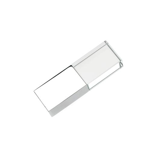 64GB USB-флэш накопитель Apexto UG-002 стеклянный, глянцевый метал, белый LED
