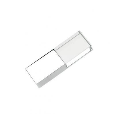 8GB USB-флэш накопитель Apexto UG-002 стеклянный, глянцевый метал, синий LED с логотипом