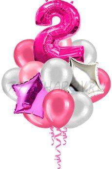Букет шаров для девочки 15 шт с 1 цифрой 91 см