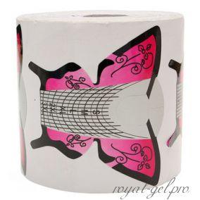 """Форма для моделирования ногтей """"Бабочка"""" розовая 300 шт."""