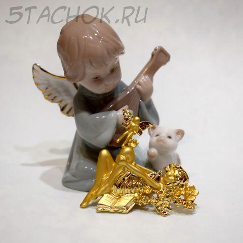 """Брошь """"Девушка и фея"""" цвет золота (AJC США)"""