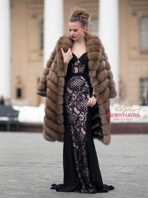 """Шуба соболь """"Кокон"""" купить в Москве  из отборного меха. Большие размеры"""