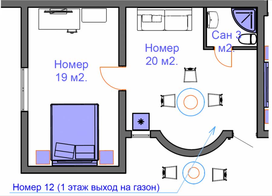 Апартамент двухкомнатный на троих - четырех человек. на 1 этаже.