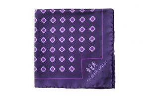 Английский нагрудный платок Пёрпл  Дэйзи Ду  PURPLE DAISY DO SILK POCKET SQUARE