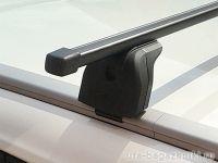 Багажник на крышу Haval H6 2014-..., Lux, стальные прямоугольные дуги на интегрированные рейлинги