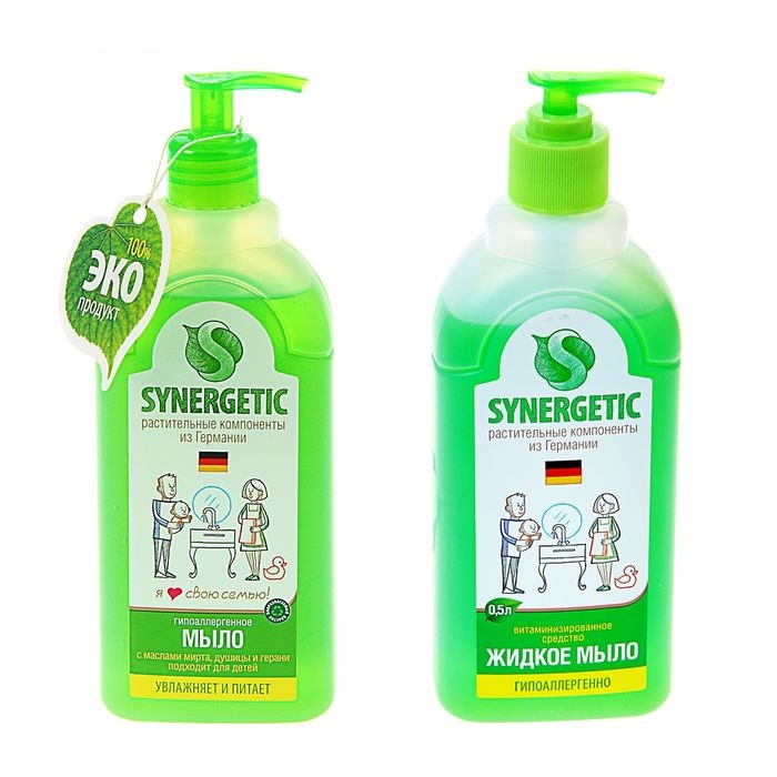 Жидкое мыло для рук с дозатором Synergetic (Синергетик) 500 мл