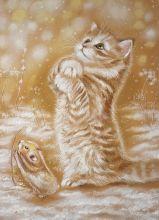 Почтовая открытка Ловить снежинки