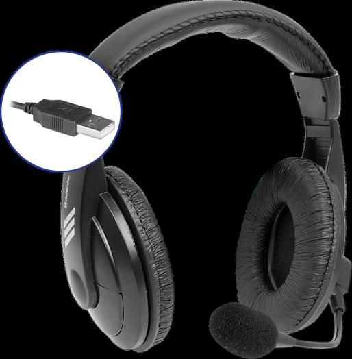 Мониторные наушники с микрофоном Defender Gryphon 750U черный, кабель 1,8 м (USB) (УЦЕНКА !!! Порвана упаковка)