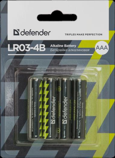 Батарейка алкалиновая Defender LR03-4B (AAA) (4 шт. на блистере)