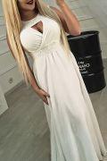 Белое вечернее платье в пол из шифона с кружевом