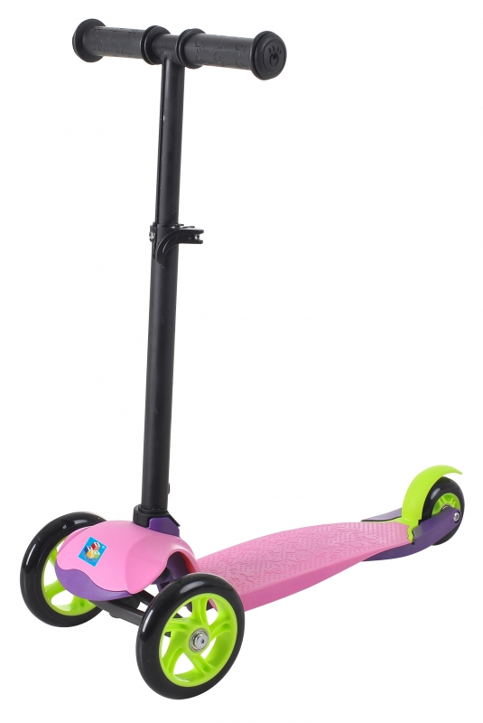 Самокат трёхколёсный 1TOY колёса со светом, управление наклоном, цвет розовый