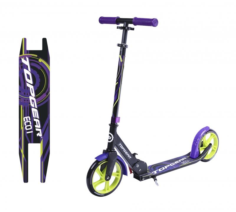 """Самокат TOPGEAR """"ECO I"""", колёса 200мм, цвет черно-фиолетовый."""