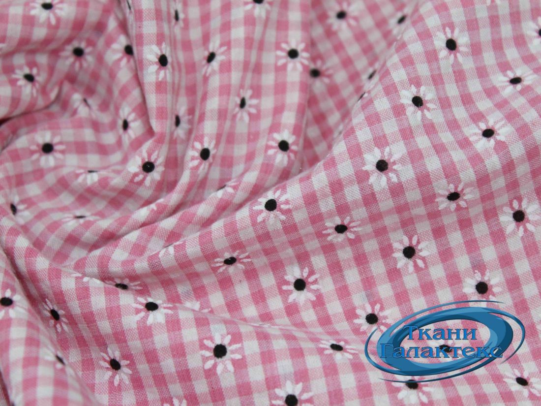 Рубашечная ткань клетка принт VT-9825/D2/C#2