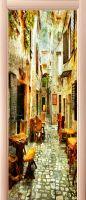 Наклейка на дверь - старые улочки Греции 1 | магазин Интерьерные наклейки