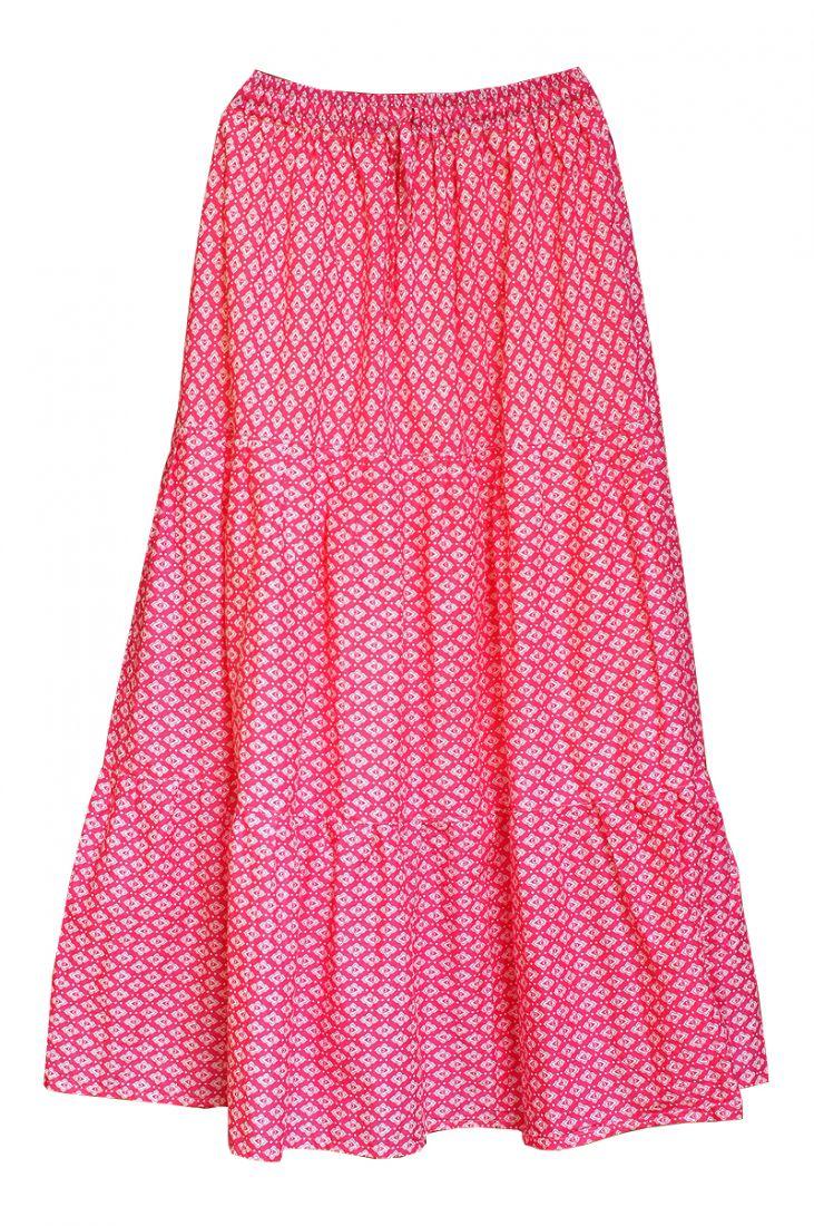 Бело-розовая юбка с воланами (отправка из Индии)