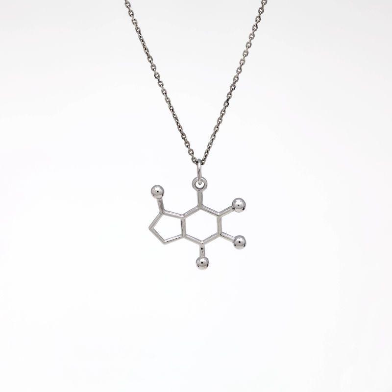 """Подвеска серебряная """"Молекула кофеин"""""""