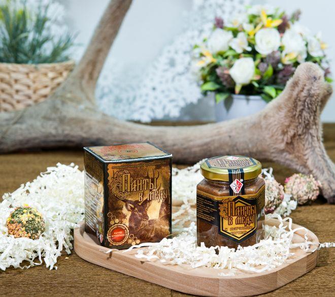 Панты в меду с маральим корнем (230 гр.)