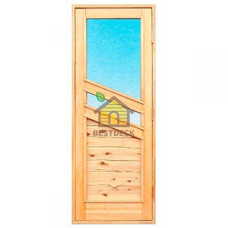 Дверь для бани из ольхи и стекла С-03. Со вставкой из можжевельника