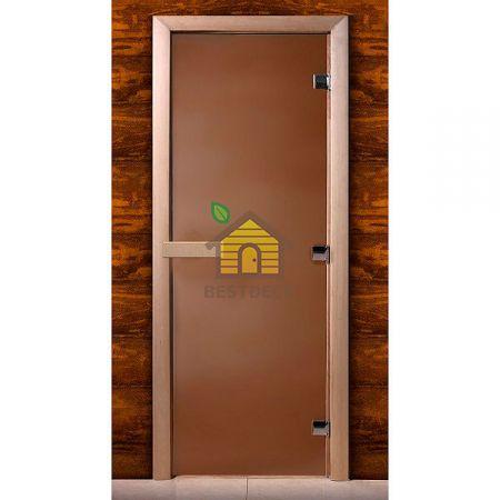 Дверь стеклянная для сауны MW стекло бронза матовое, коробка ольха
