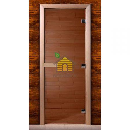 Дверь стеклянная для сауны MW стекло бронза, коробка ольха