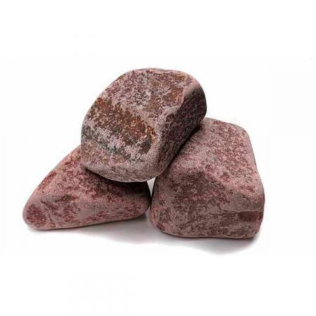Малиновый кварцит для сауны, шлифованный, коробка 20 кг
