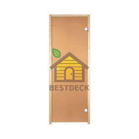 Дверь стеклянная для сауны Harvia STG 7x19 стекло бронза, коробка сосна