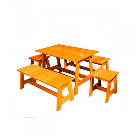 Стол+лавка+табурет из лиственницы. Цвет: натуральный/мореный