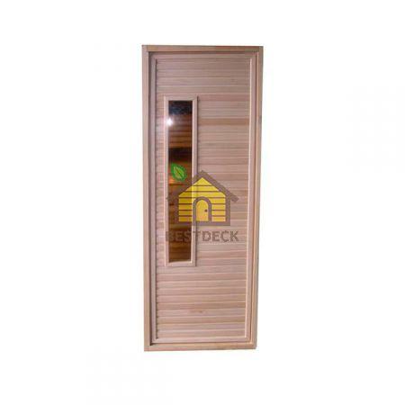 Дверь из липы для бани со стеклопакетом