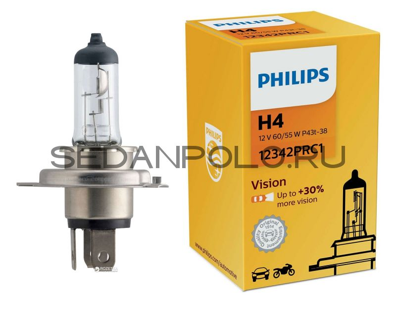 Лампа H4 PHILIPS +30% more vision