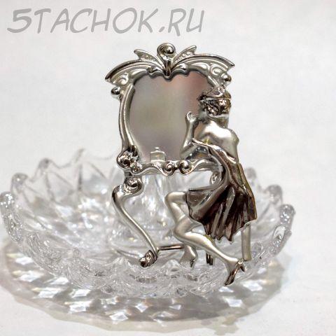 """Брошь """"Дама у зеркала"""" цвет серебра (AJC США)"""