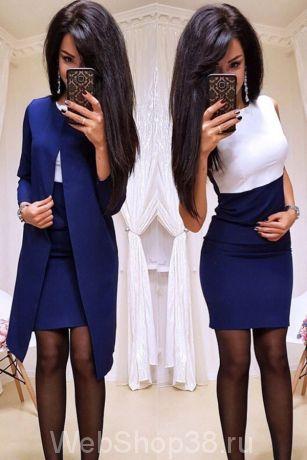 Крутой костюм платье и пиджак цвет синий