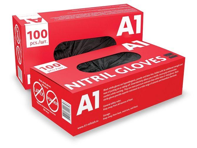 А1 NITRIL GLOVES Нитриловые перчатки, черные, размер XXL, (упаковка 90 шт.)