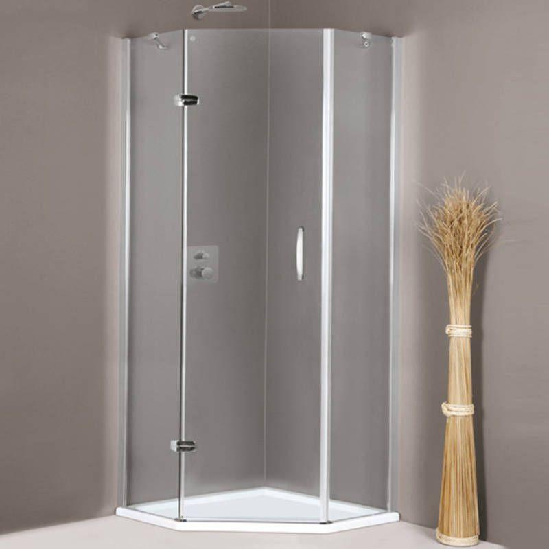 Пятиугольный душевой уголок Huppe Aura elegance с распашной дверью и креплением слева 4009 ФОТО
