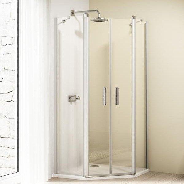 Пятиугольный душевой уголок Huppe Design elegance с двустворчатой дверью 8E18 ФОТО