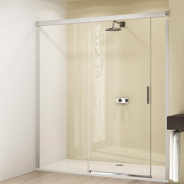Huppe Design elegance Раздвижная душевая дверь с неподвижным сегментом и доп. элементом крепление слева 8E03 ФОТО