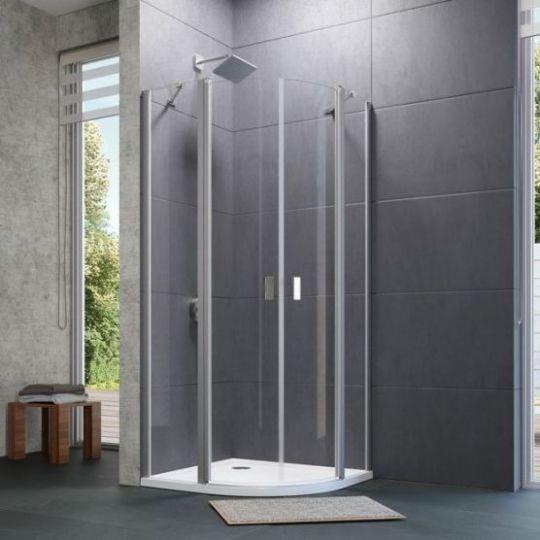 Huppe Design pure 1/4 круга Двустворчатая распашная дверь с неподвижными сегментами 8P17