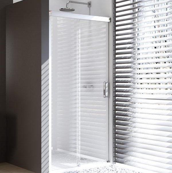 Huppe Design pure Односекционная раздвижная душевая дверь с неподвижным сегментом крепление слева 8P01 ФОТО