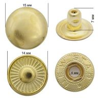 Кнопка стальная Alpha 15мм цв. золото  NewStar