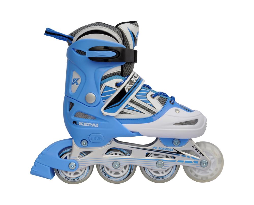 Роликовые коньки раздвижные KEPAI F1-V2 (сине-белые)