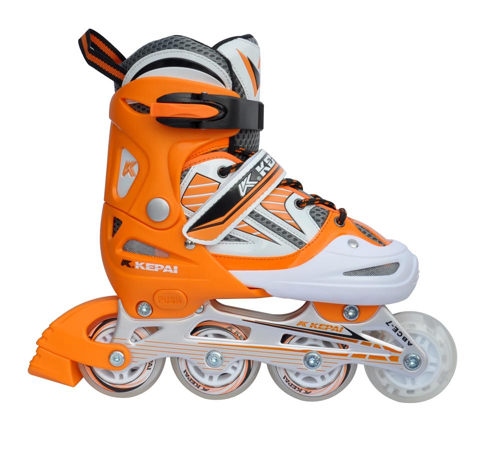 Роликовые коньки раздвижные KEPAI F1-V2 (оранжево-белые)