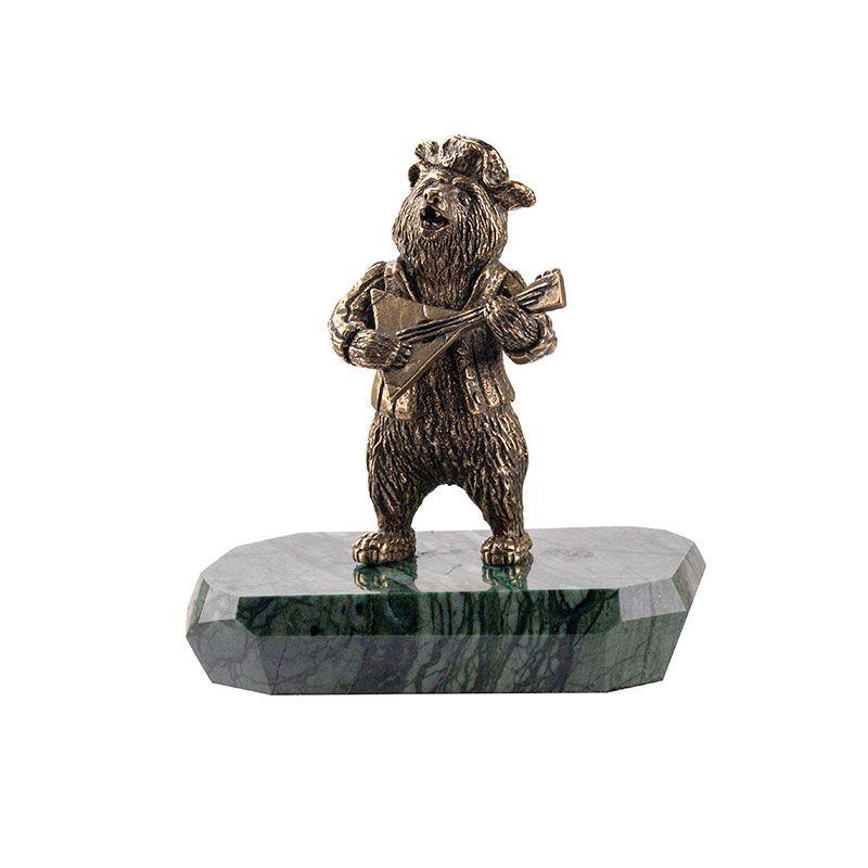 """Статуэтка """"Медведь с балалайкой"""" на камне"""