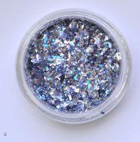 Голографические кусочки фольги #04 для дизайна ногтей (серебро с синим отливом)