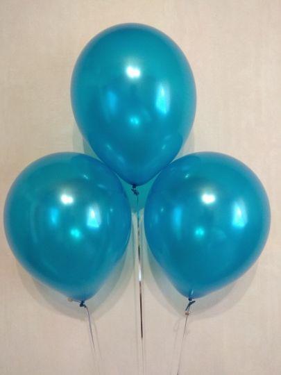 Синий металлик шар с гелием