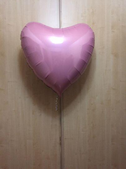 Сердце розовое большое шар фольгированный с гелием