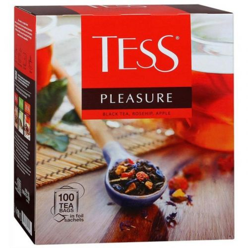 Чай Tess Pleasure черный с шиповником и яблоком 100пак