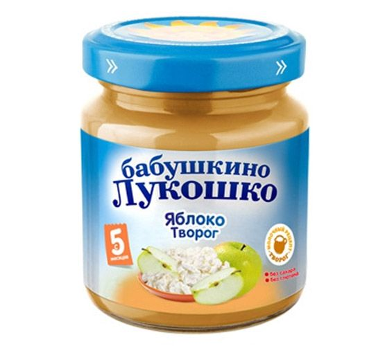 Бабушкино лукошко Пюре Яблоко с творогом с 5 мес., 100 г