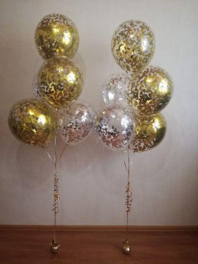Фонтан из 5 шаров с конфетти