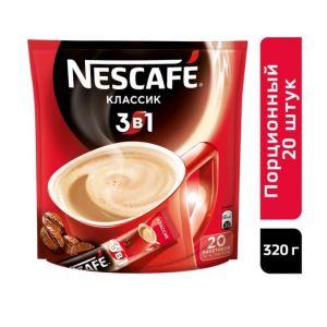 Кофе Nescafe Classic порционный растворимый 3в1 20пак по 16гр