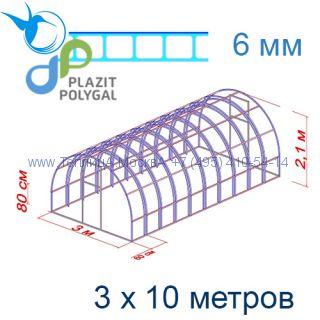 Теплица Богатырь Люкс 3 х 10 с поликарбонатом 6 мм Polygal