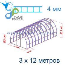 Теплица Богатырь Люкс 3 х 12 с поликарбонатом 4 мм Polygal